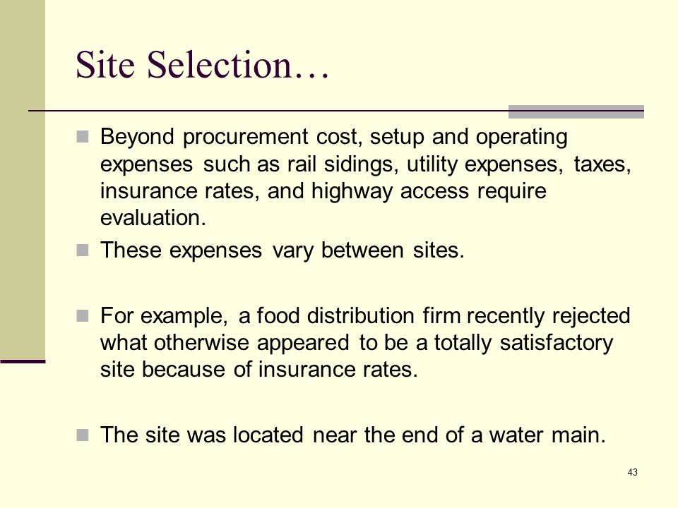 Site Selection…