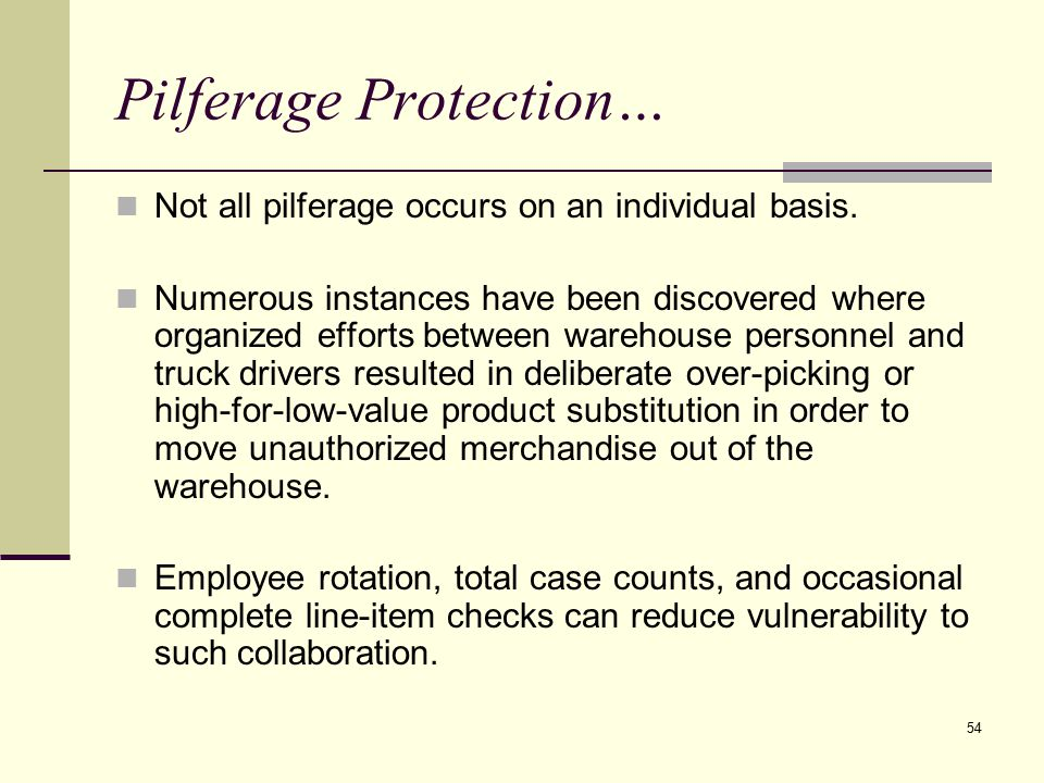Pilferage Protection…
