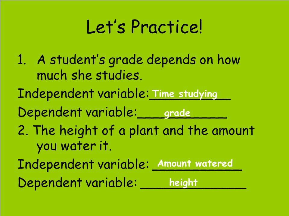 how to work out independent and dependent variables