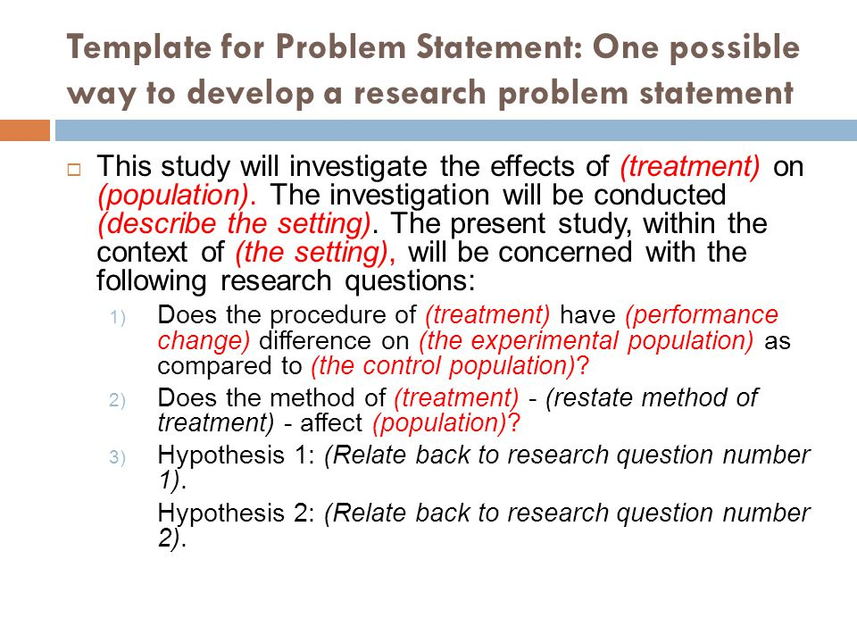 Writing Problem Statement For Research In Science  Technology