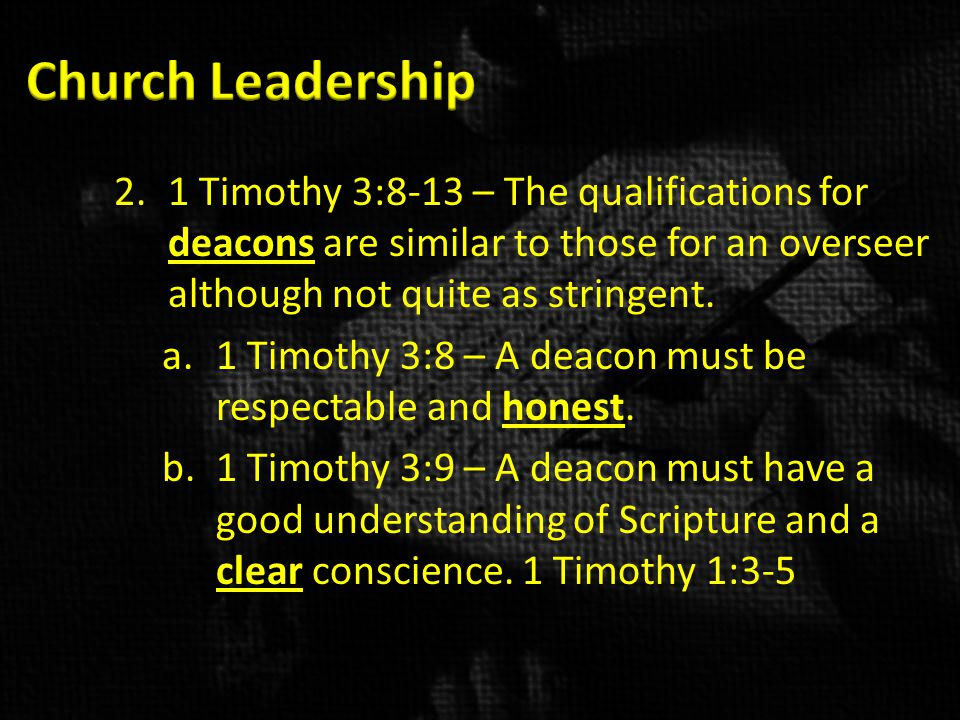 Paul's Qualifications for Church Leaders (1 Timothy 3)