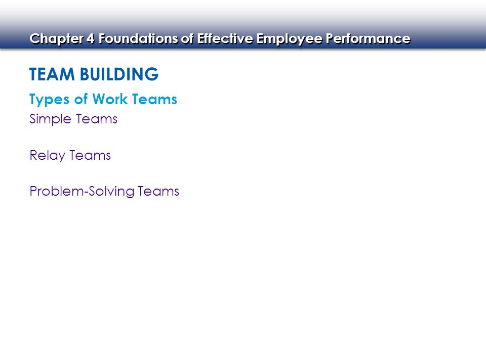 Team Building Types of Work Teams Simple Teams Relay Teams
