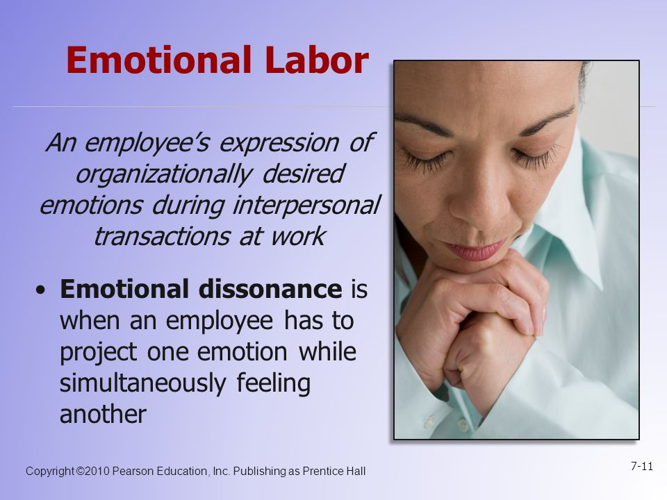 Emotional Labor An employee's expression of organizationally desired emotions during interpersonal transactions at work.
