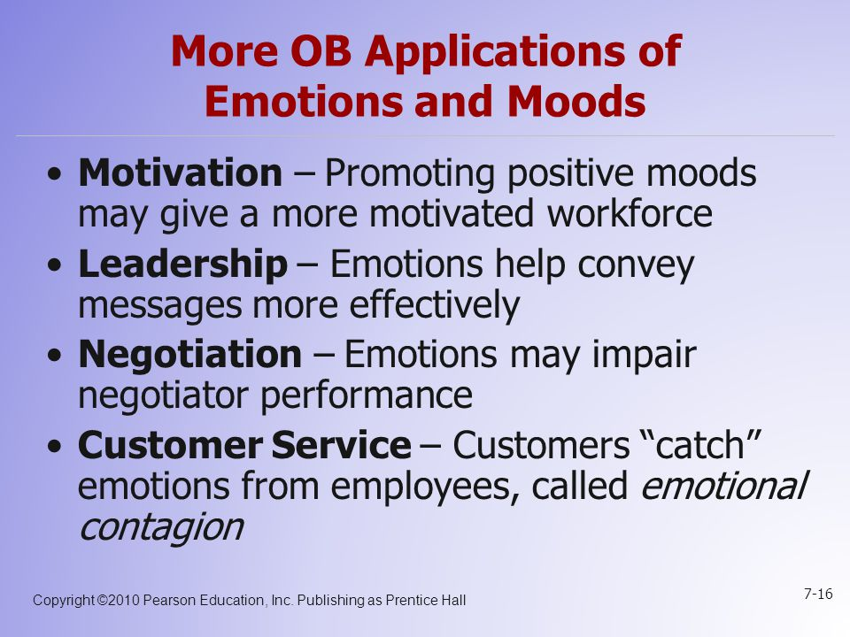 More OB Applications of Emotions and Moods