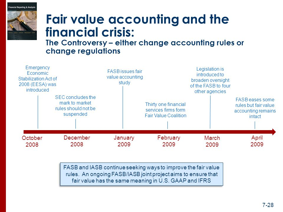 accounting and financial crisis The global financial crisis of 2008:  risk accounting standards must address both the proper methods for estimating the variances and covariances of assets and liabilities, and the potential instabilities in these estimates across different economic environments 75.