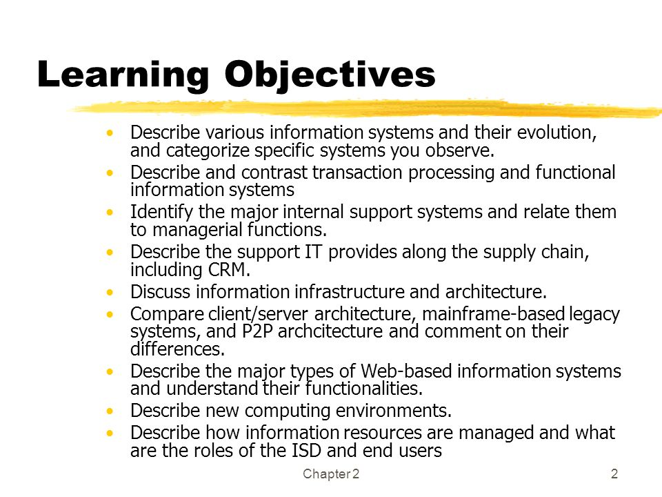 Learning Objectives Describe various information systems and their evolution, and categorize specific systems you observe.