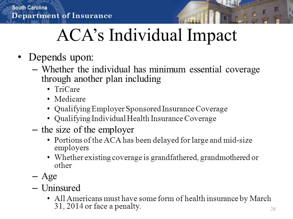Health insurance 101 aca overview update and q a south carolina health underwriters for Minimum essential coverage plan design