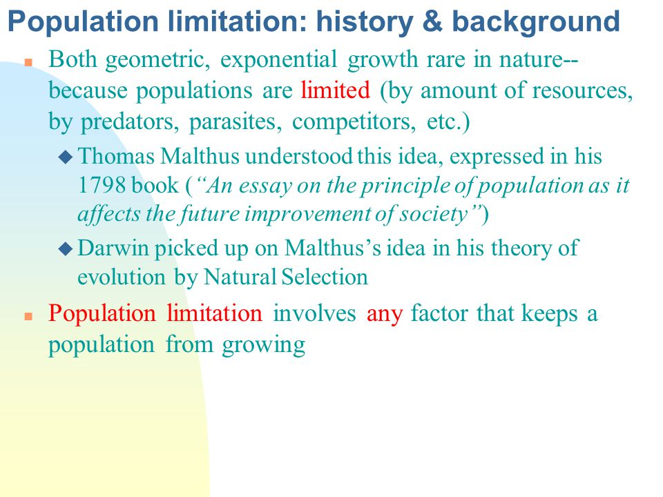 population limitation history background ppt  population limitation history background