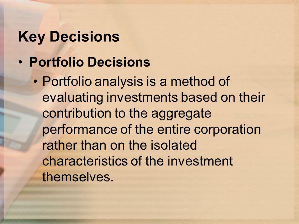 Key Decisions Portfolio Decisions