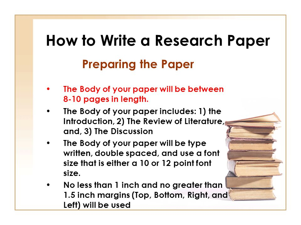 content of the body of a research paper