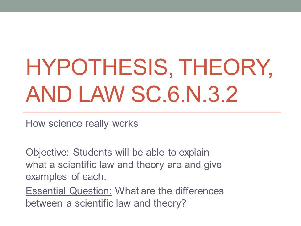 scientific law theory hypthesis What are the differences between hypotheses, theories, and laws is there a difference between the terms: hypothesis, theory, and law you betcha.