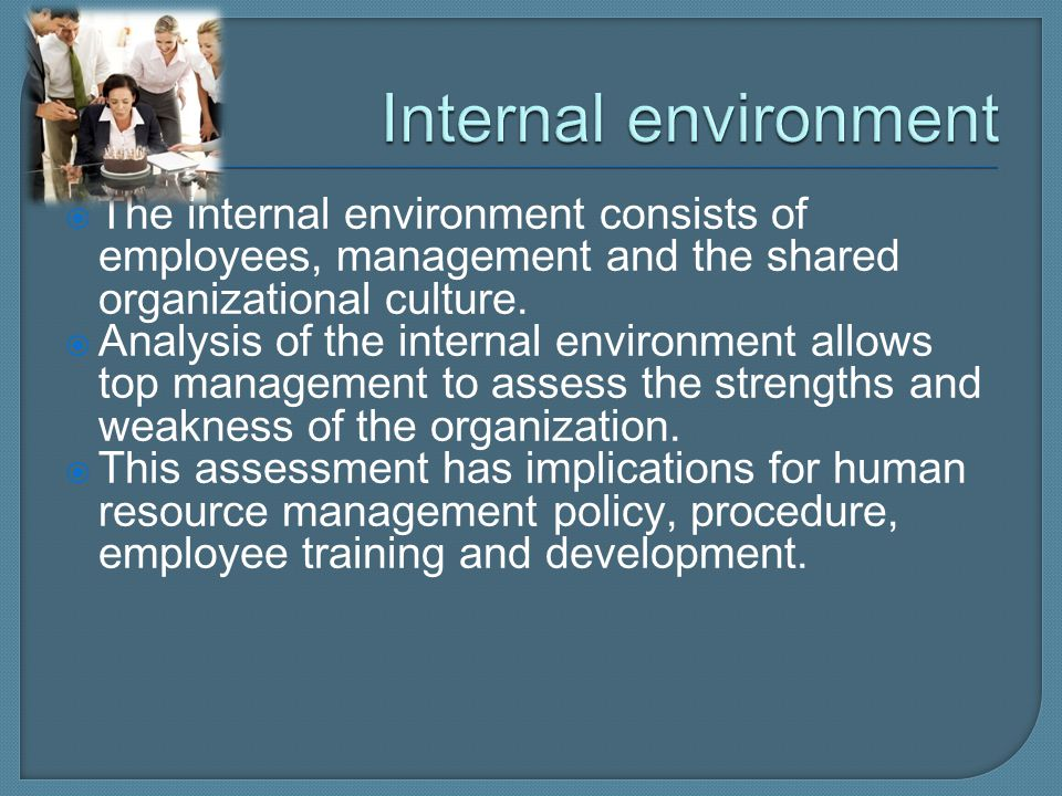 Internal environment The internal environment consists of employees, management and the shared organizational culture.