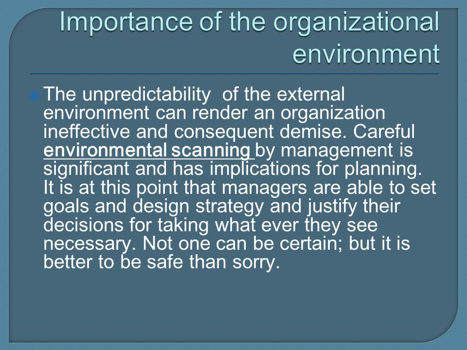Importance of the organizational environment