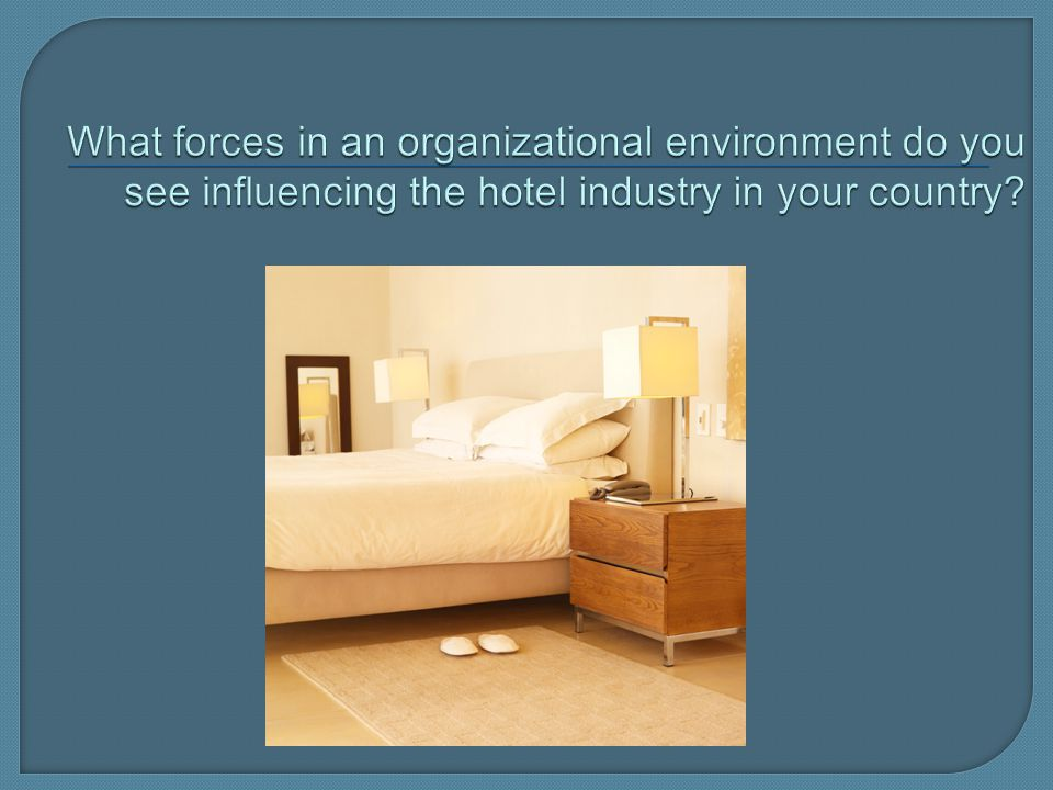What forces in an organizational environment do you see influencing the hotel industry in your country