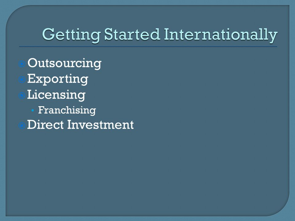 Getting Started Internationally