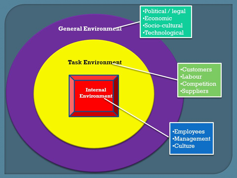 general and task environment Task environment of an organization is the environment which directly affects the organization from attaining business goals in brief, task environment is the set of conditions originating from suppliers, distributors, customers, stock markets and competitors which directly affects the organization from achieving its goals.