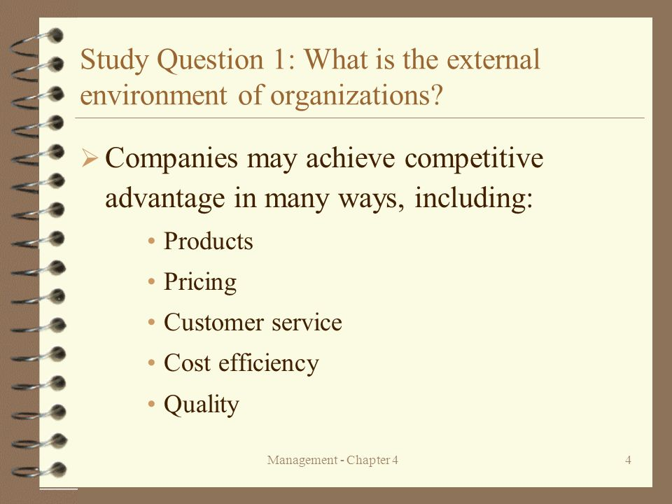 aspect of external environment which may be significant to business firm Aspect of external environment which may be significant to business firm internal and external environment of business and in each case explain five components of the environment  the term business , in economic sense means human activities which are performed with the objectives of earning profits.