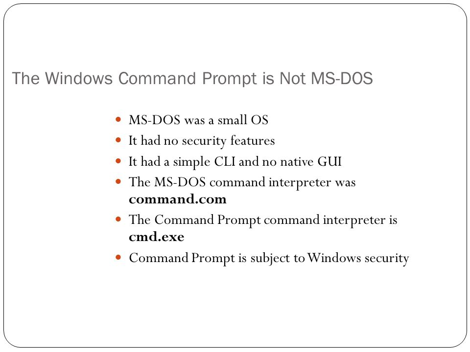 The Windows Command Prompt is Not MS-DOS
