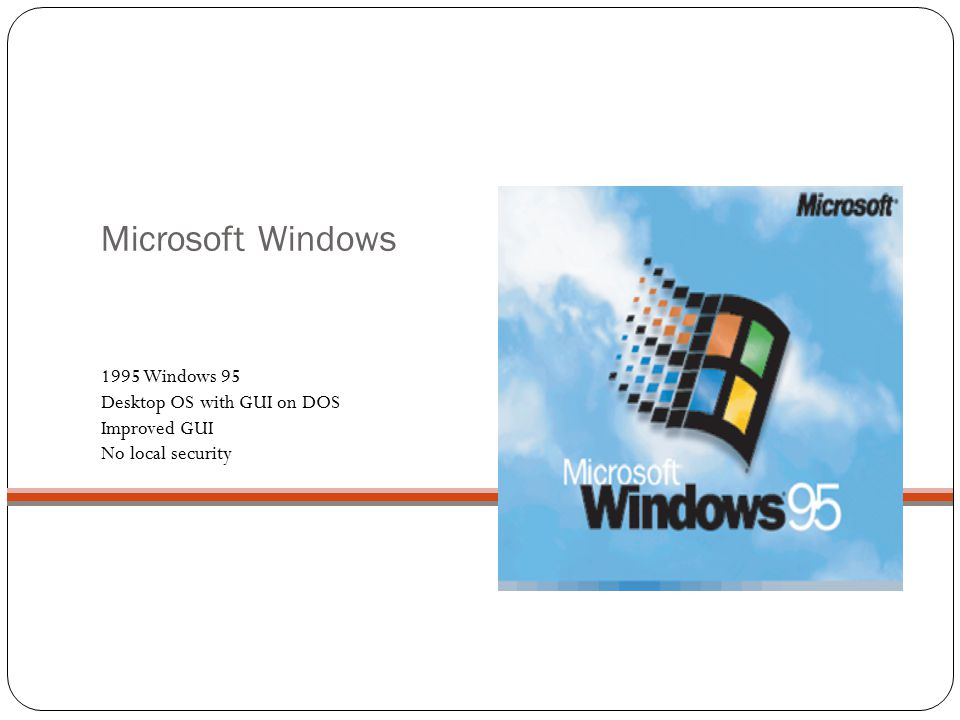 Microsoft Windows 1995 Windows 95 Desktop OS with GUI on DOS Improved GUI No local security