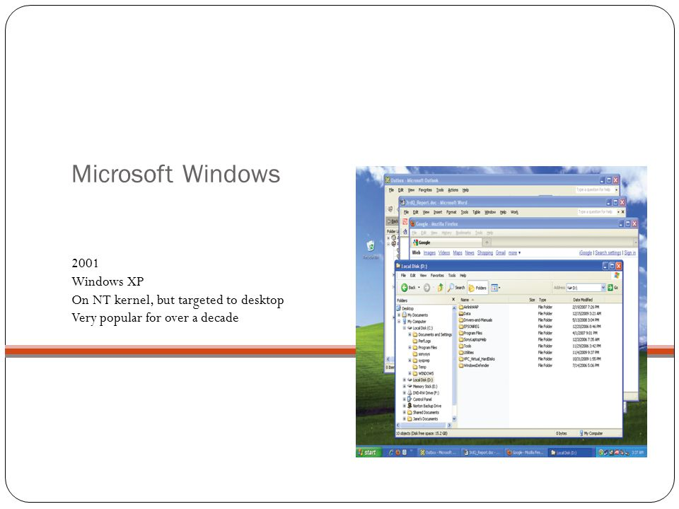 Microsoft Windows 2001 Windows XP On NT kernel, but targeted to desktop Very popular for over a decade.