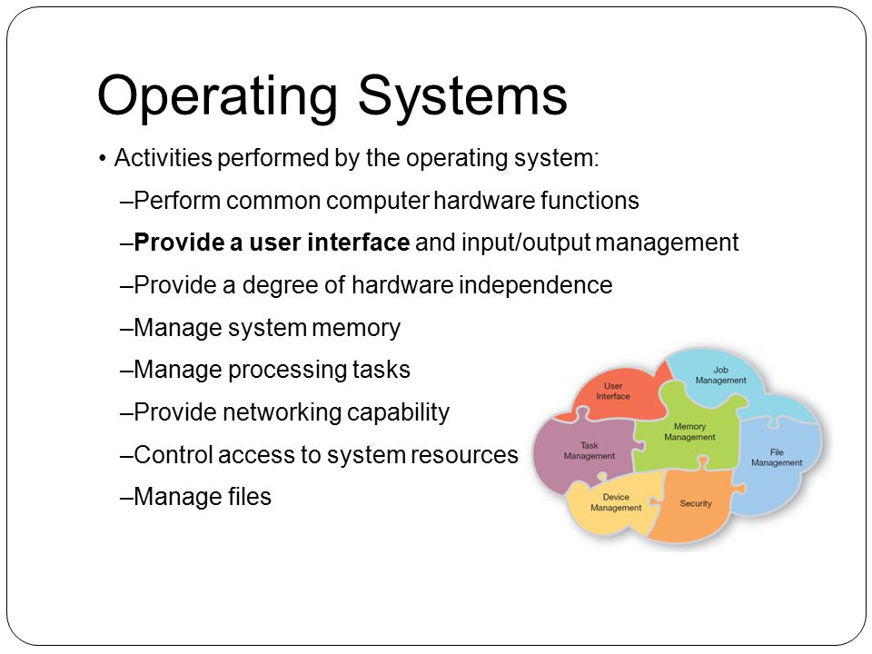 Operating Systems Activities performed by the operating system: