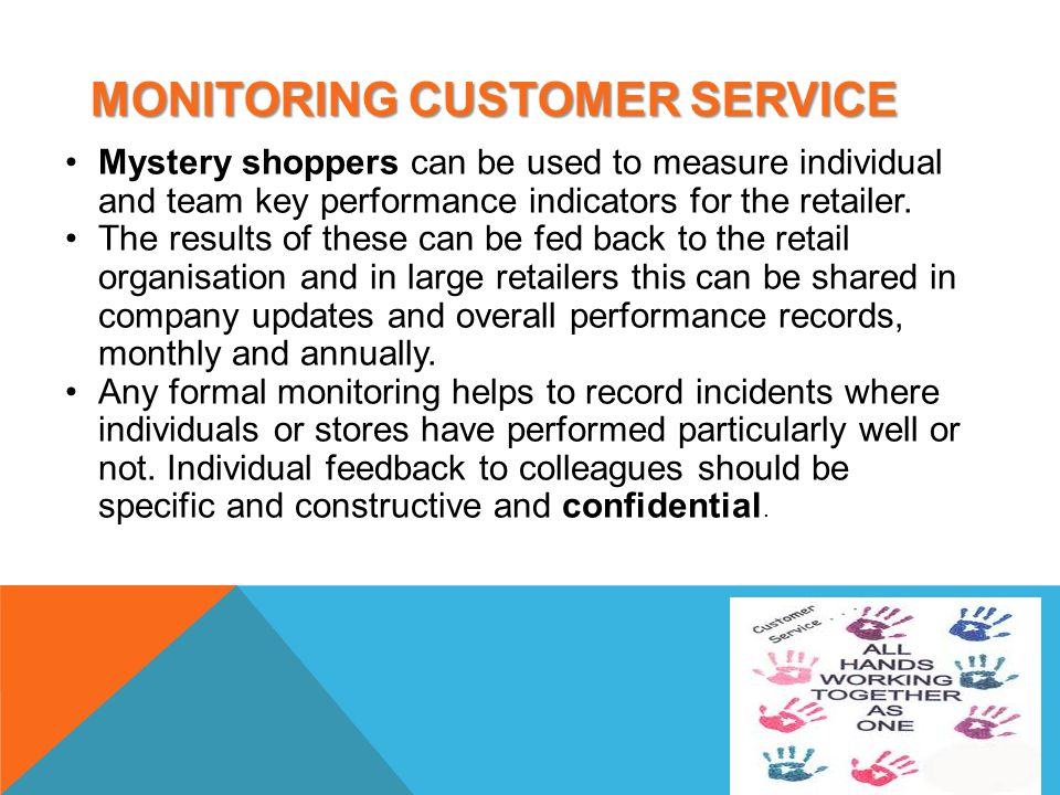 explain how monitoring and evaluating can improve customer service for the customer the organisation M4 – explain how monitoring and evaluating can improve customer service for the customer, organisation and the employee d2 – analyse how monitoring and evaluating can improve customer service for the customer, organisation and the employee.