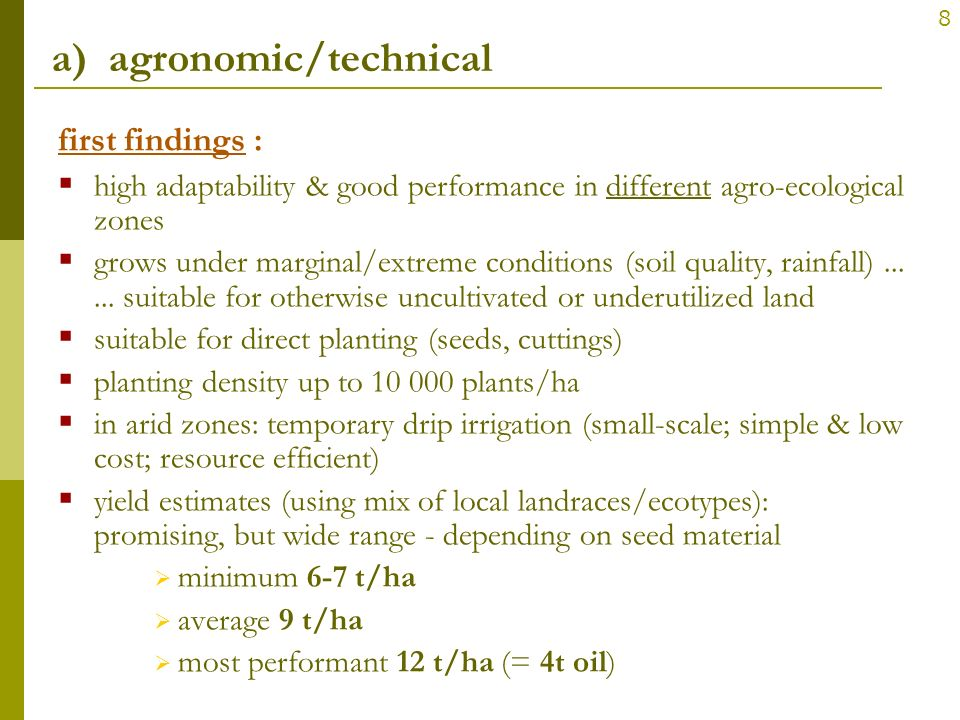 a) agronomic/technical