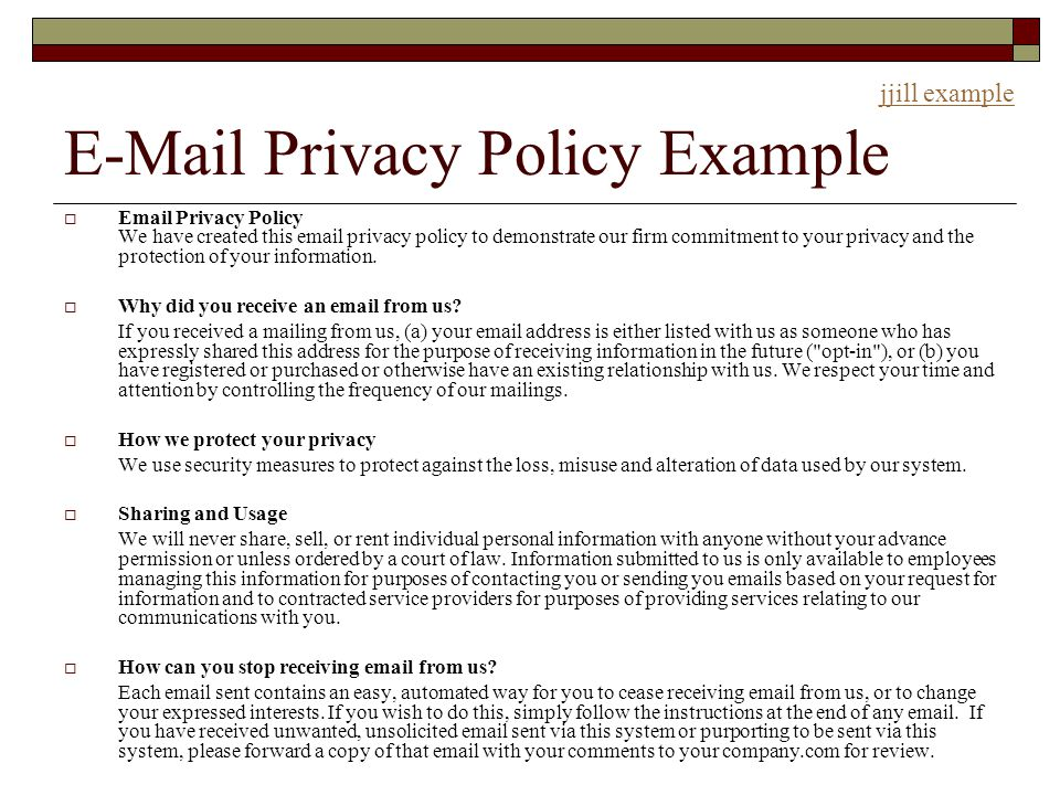 email privacy policy template
