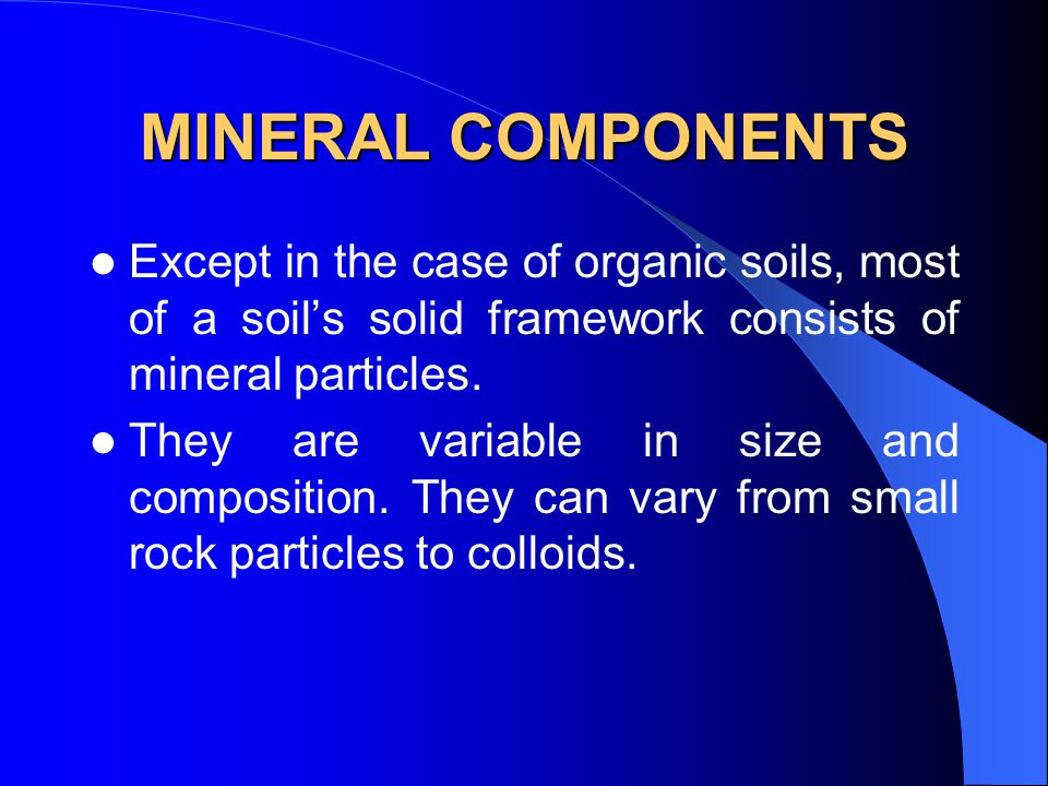 Me31d drainage and irrigation engineering ppt video for Mineral constituents of soil