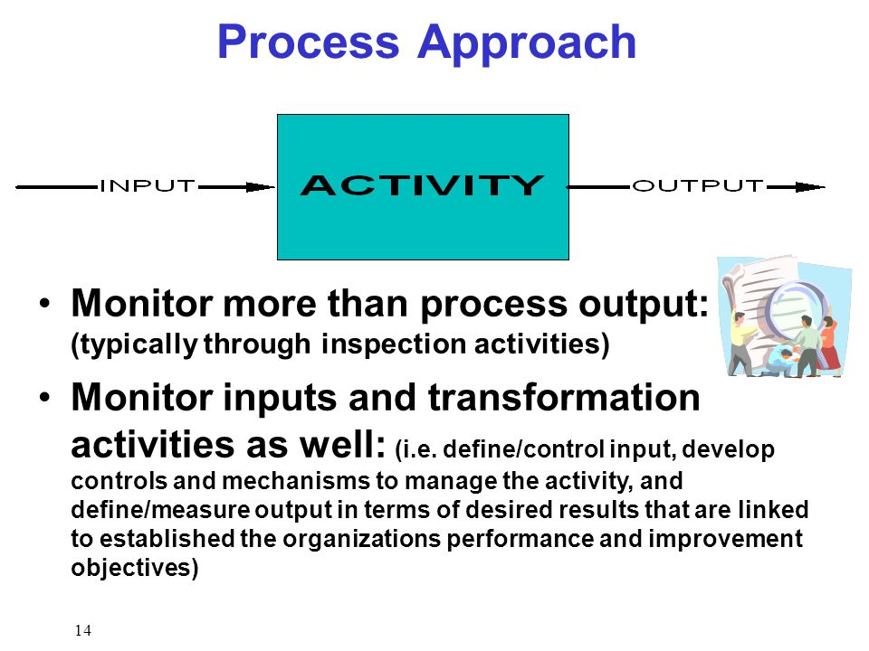 the output approach The process approach is a management strategy when managers use a process approach, it means that they manage and control the processes that make up their.
