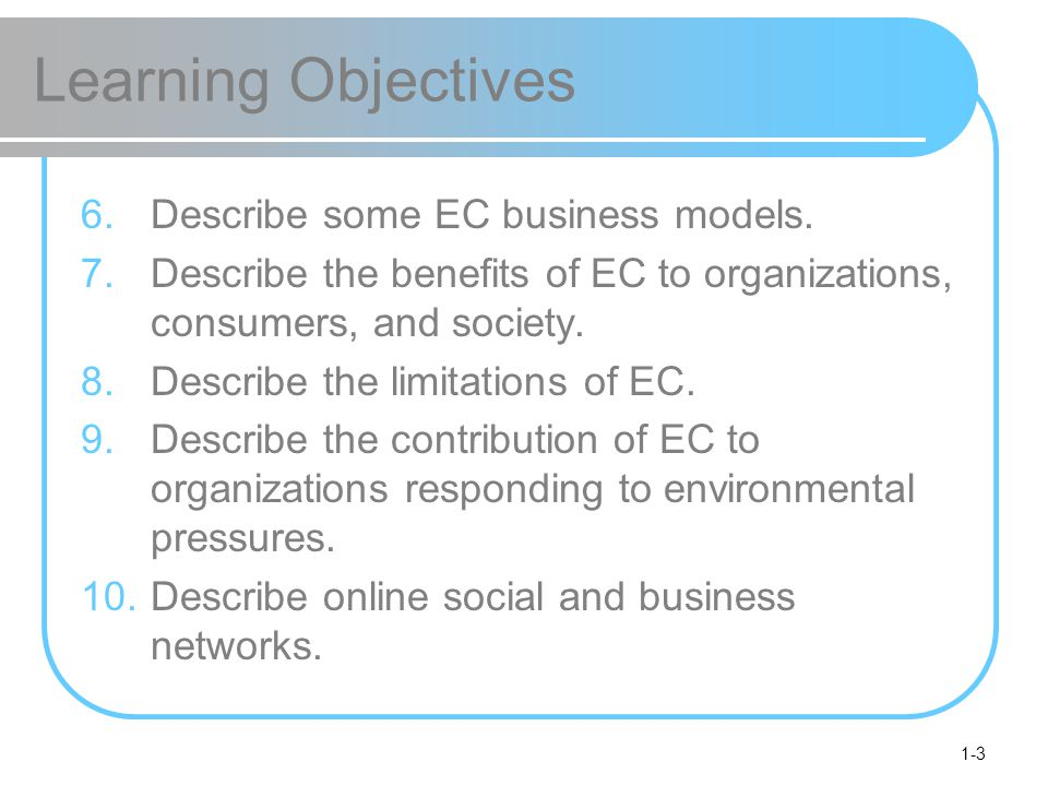 Learning Objectives Describe some EC business models.