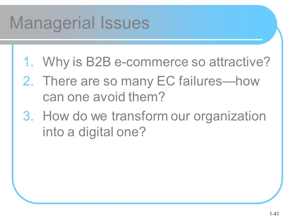 Managerial Issues Why is B2B e-commerce so attractive