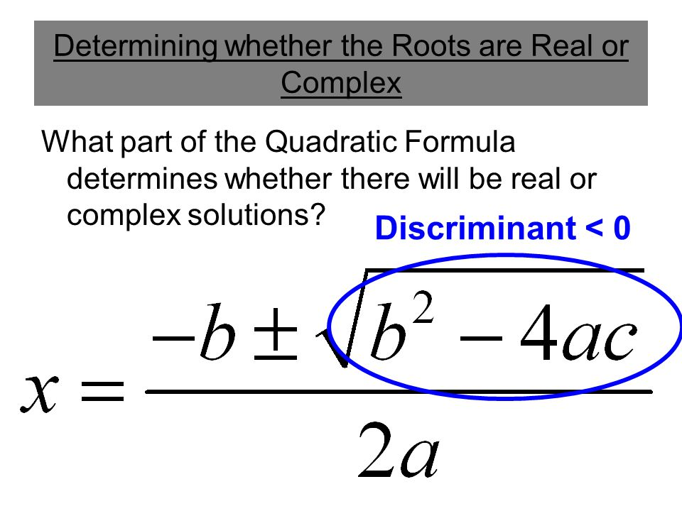 Determining whether the Roots are Real or Complex