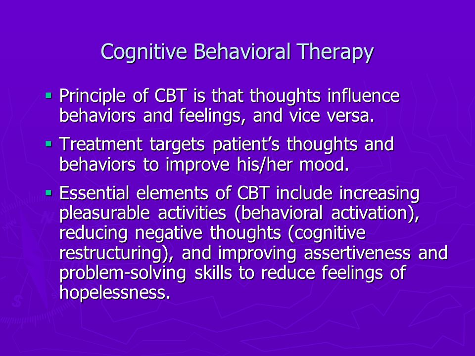 behavioral activation therapy In the treatment of major depressive disorder (mdd), behavioral activation therapy (ba) has emerged in recent years as an efficacious intervention derived .