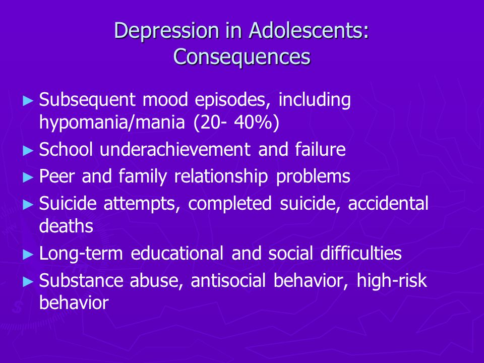 adolescent depression and suicide early detection and It is important to actively recognize the signs of depression, substance abuse, changes in your teen's behavior in school or on the job, so you can take the initiative, and intervene early.