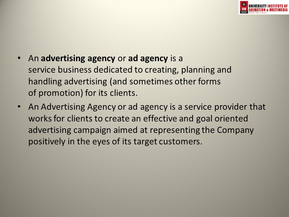 Advertising agency firm that 1 creates new promotional for American ad agencies