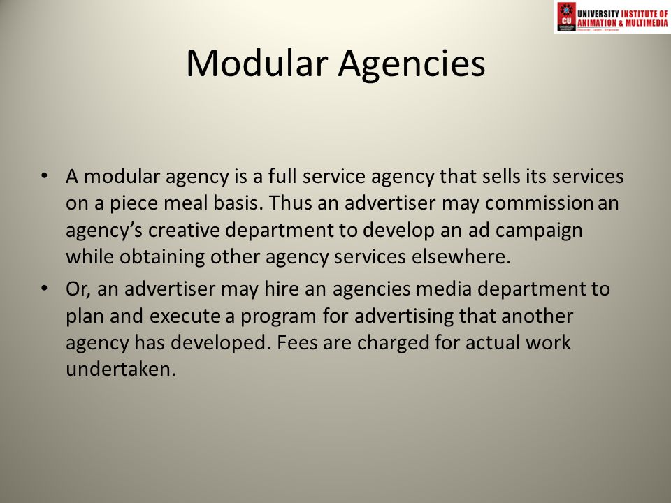 Advertising agency firm that 1 creates new promotional for Advertising agency fees