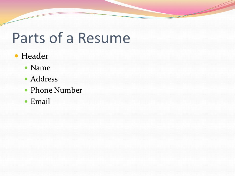 Parts of a Resume Header Name Address Phone Number