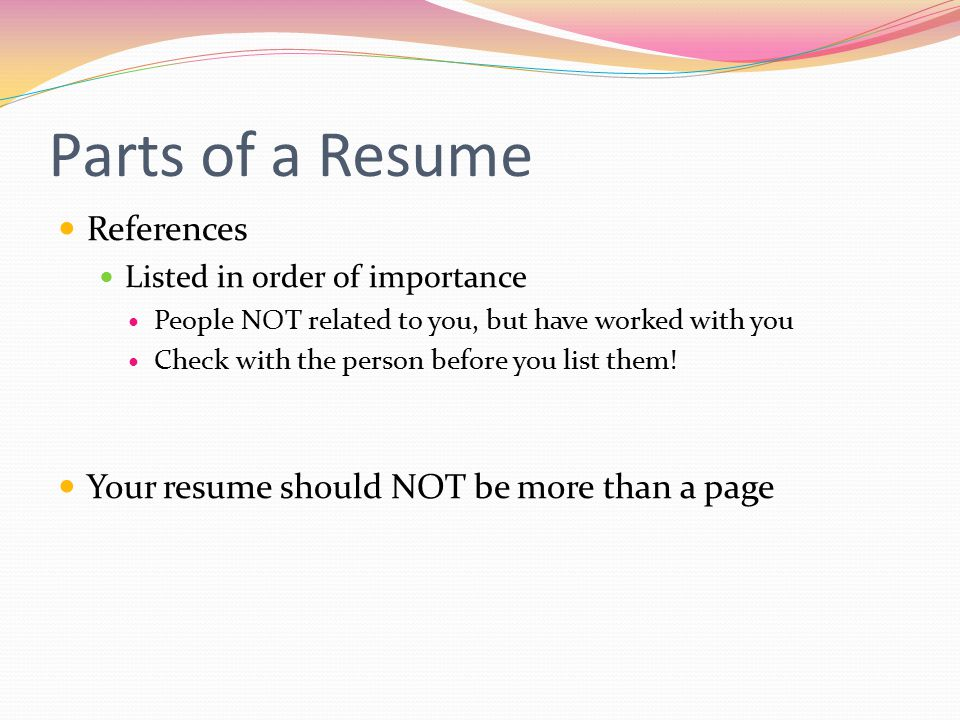 Parts of a Resume References