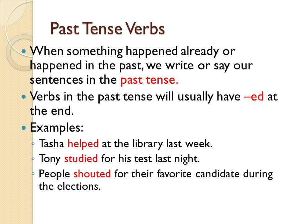 Past tense examples gallery example of resume for student.