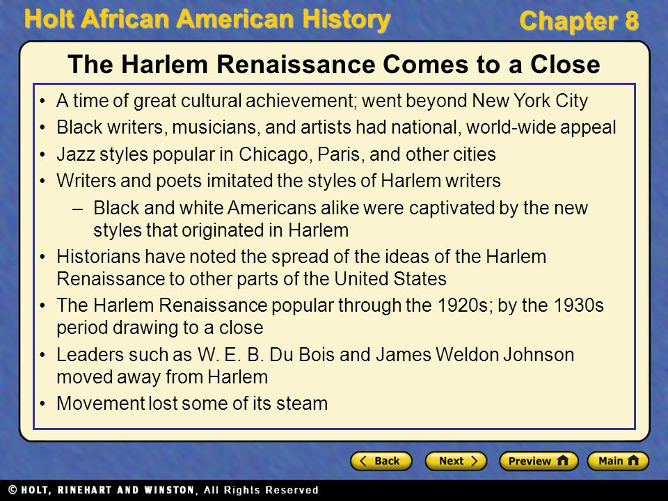 a description of the harlem renaissance of the 1920s as great time for black artists The harlem renaissance was a cultural movement that spanned the 1920s at the time,  the harlem renaissance 51 a new black  renaissance the great.