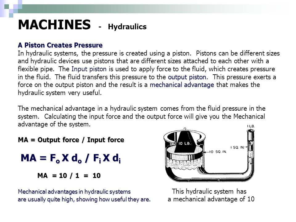 how to find mechanical advantage of hydraulic system