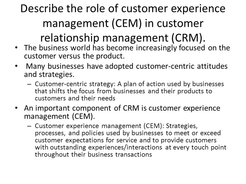 customer relationship experience