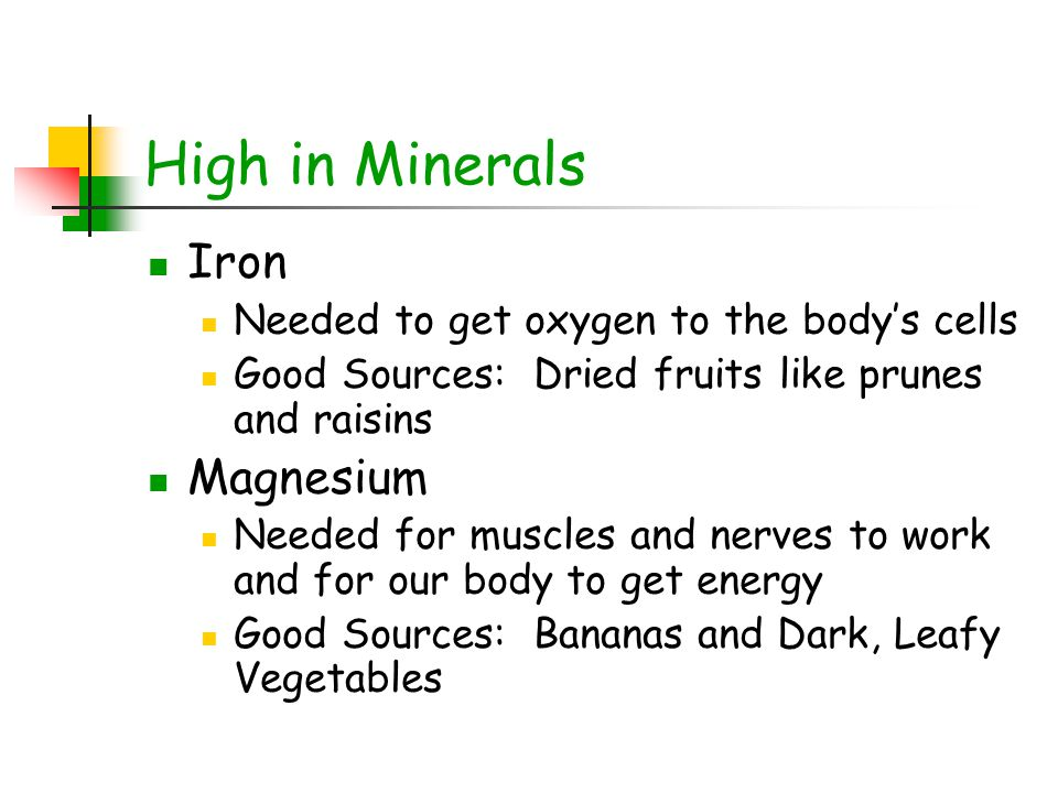 High in Minerals Iron Magnesium