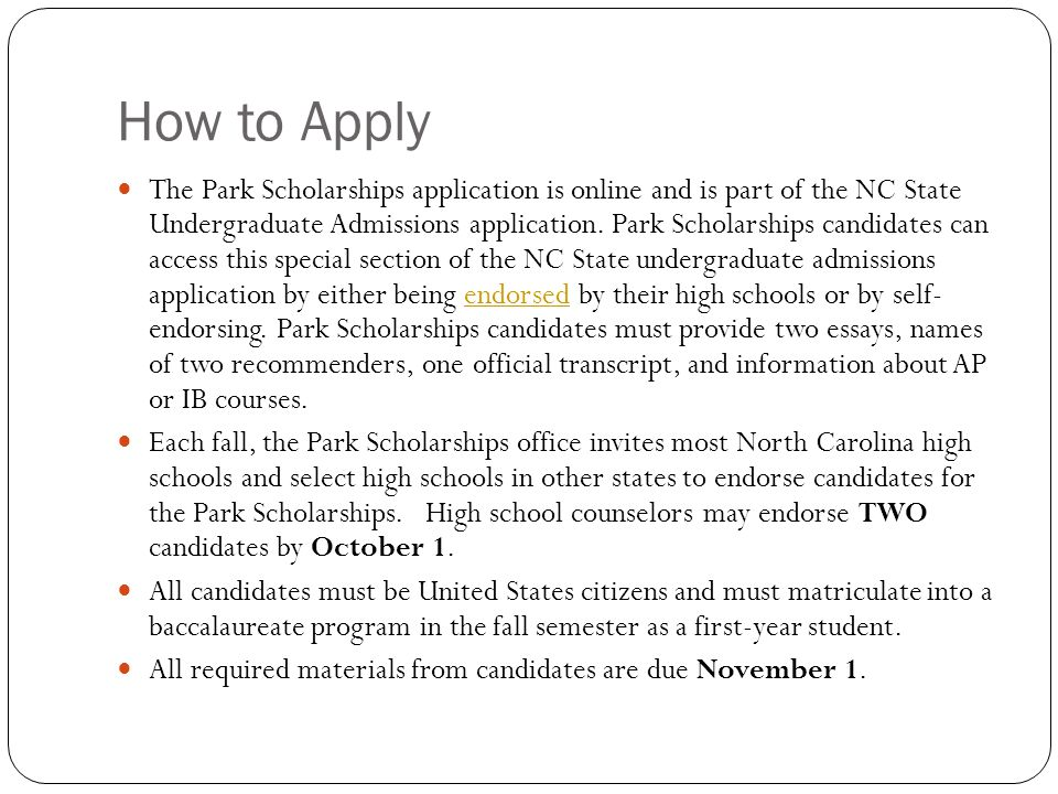 nc state university application essay Nc state extension is the largest outreach program at nc state university based in the college of agriculture and life sciences, we reach millions of north carolina citizens each year through local centers in the state's 100 counties and with the eastern band of cherokee indians.