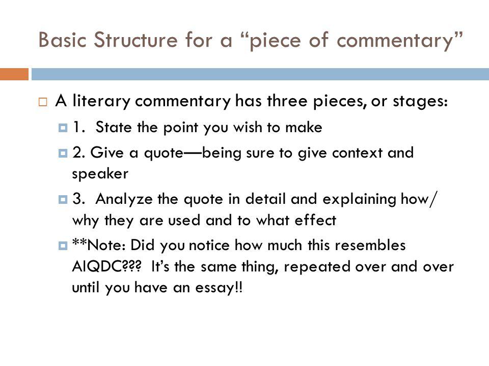 comentary essay