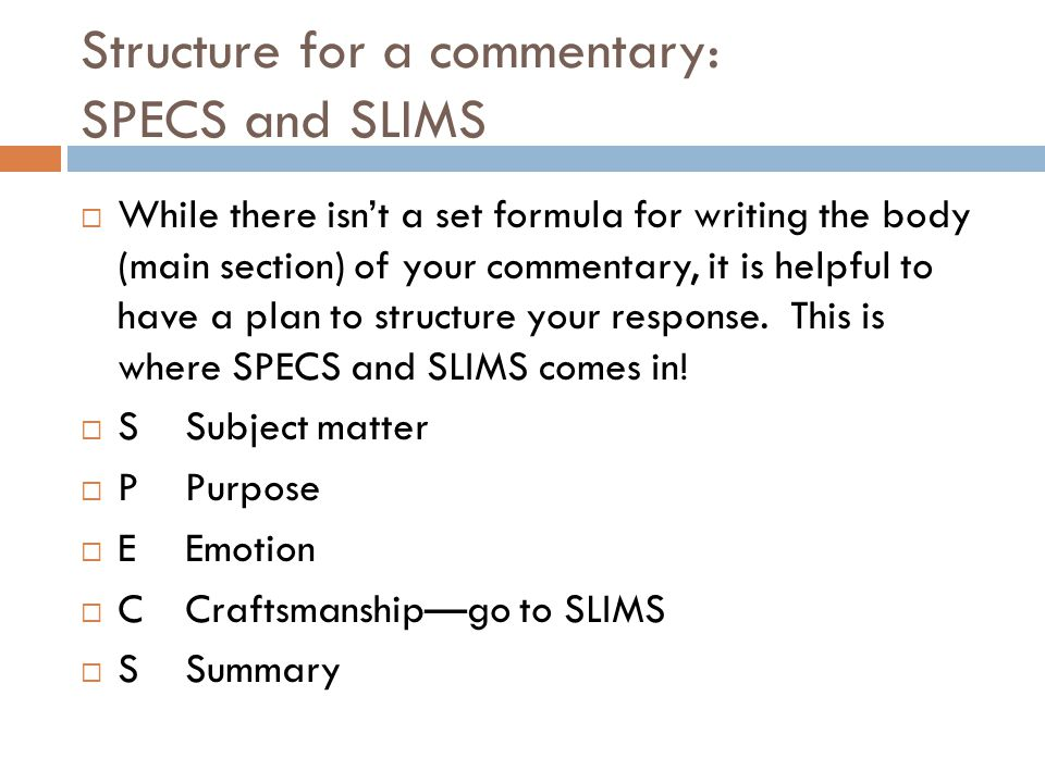 poem structure specs and slims Also, could you help me to interpret this poem utilising the specs   craftmanship, summary) and slims (structure, language, imagery,.