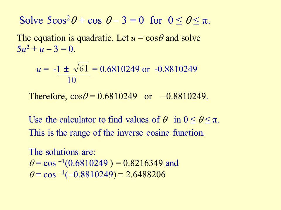how to solve cosine equations
