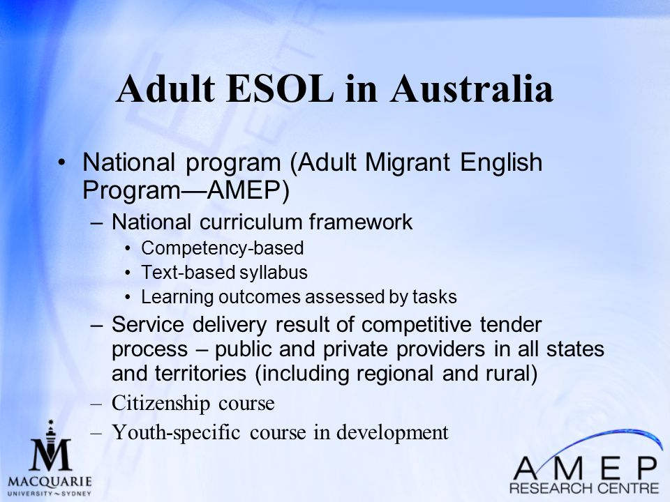 esol program delivery models English as a second language (esl): a program of techniques, methodology and special curriculum designed to teach ell students english language skills, which may include listening, speaking, reading, writing, study skills, content vocabulary, and cultural orientation esl instruction is usually in english with little use of native language.