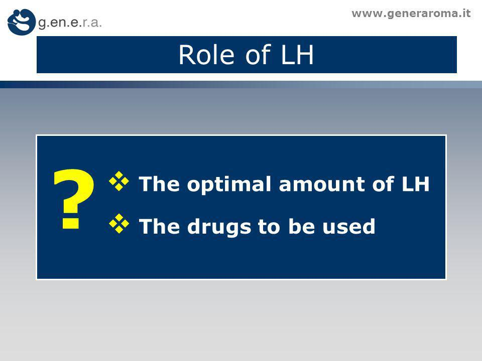 Role of LH The optimal amount of LH The drugs to be used